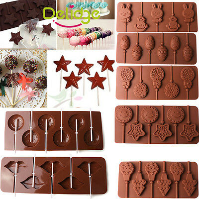 NEW Silicone Lollipop Mould Tray Candy Chocolate Lollypop  Mold With Sticks