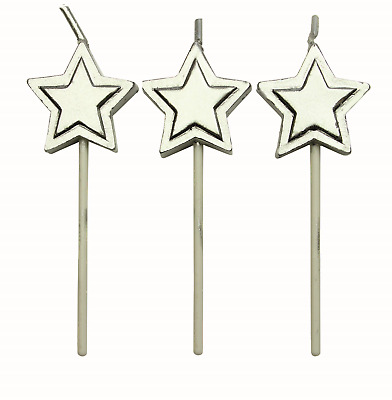 PME 8 Set SILVER STARS Candles Birthday Party Cake Decorating