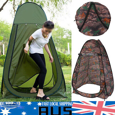 Portable Pop Up Outdoor Camping Shower Tent Toilet w/ Zipped Window Carry Bag AU