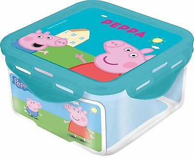 Boyz Toys Peppa Pig Square Food Snack Lunch Container Tub Box - Blue Lid