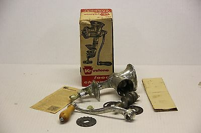 Vintage Keystone No. 1 Food & Meat Chopper Grinder with Original Box & Blades