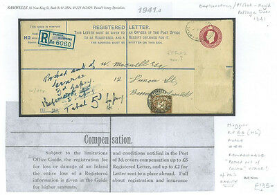 DB1941.4 GB Barrow Registered Envelope PSRE Explanatory POOC Local Postage Dues