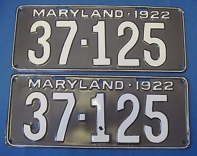 1922 Maryland license plates older repaint