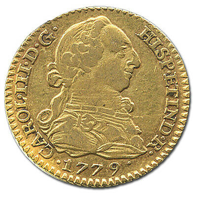 Spanish Gold coin Madrid 1 escudo bust, Charles III 1779 PJ #7020