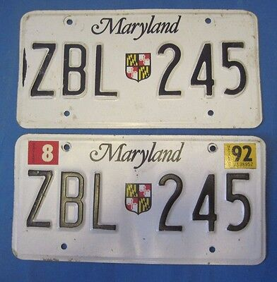 1992 Maryland License Plates matched pair state shield