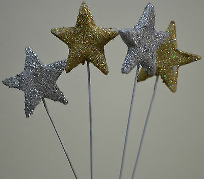 GLITTER STARS ON WIRES (EDIBLE) - GLITTER DUST - SILVER OR GOLD x 6 - 3CM WIDE