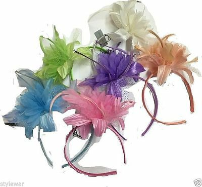 Ladies Hawaiian Beach Fancy Pastel Color Feather Flower Fascinator On Aliceband