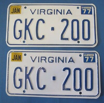 1977 Virginia license plates matched pair