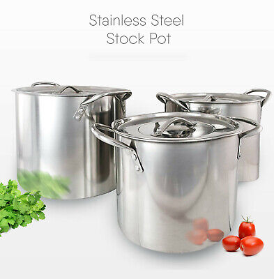 Deep Stainless Steel Stock Pot Cater Stew Casserole Soup Boiling Pan With Lid