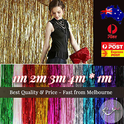 1m 2m 3m 4m Metallic Tinsel Curtain Foil Wedding Birthday Hens Party Decorations