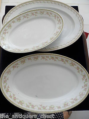 Royal Schwarzburg three large oval serving trays, Pink Rose Band & Swags[a1]