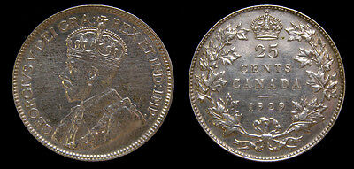 Canada 1929 25 Cent King George V Silver Coin VF-35
