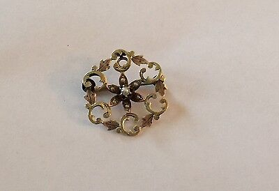 """Victorian 10K Rose & Green Gold Seed Pearl Scroll & Leaf 1"""" Brooch Or Pendant"""