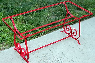 Antique Painted Red Wrought Iron Table Coffee Side Terrace Patio Glass Top