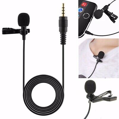 Clip On Lapel Microphone Hands Free Wired Condenser Mini Lavalier Mic 3.5mm Jack