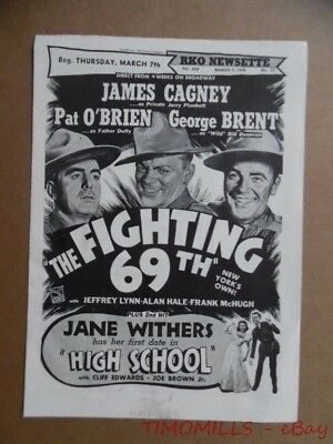 1940 RKO NEWSETTE Movie Herald Fighting 69th James Cagney Jane Withers Vintage `