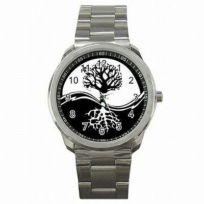 Yin Yang Tree of Life Symbol Black White Taoism Stainless Steel Watch