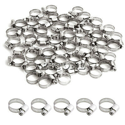 "50Pcs 1/2""-3/4"" Adjustable Stainless Steel Drive Hose Clamps Fuel Line Clip"