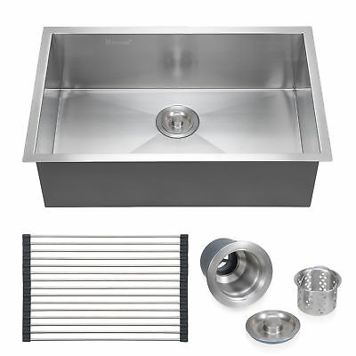 "28""x18"" 304 Stainless Steel Commercial Sink Laundry Kitchen Single Bowl 18 Gauge"