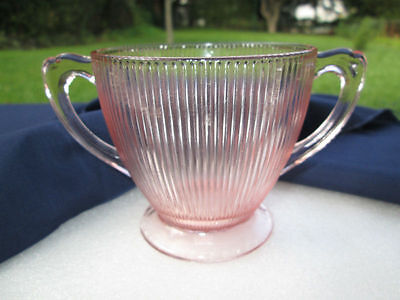 Homespun Fine Rib Pink Depression Glass Sugar Bowl By Jeannette