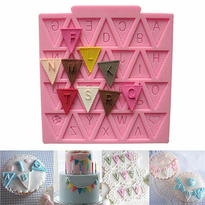 Pink Silicone Flags Fondant Mould Baking Cake Pastry Party Decorating Sugarcraft