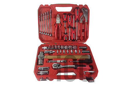 55pc large tool set screwdrivers spanners hammer kit beginner car repair GIFT