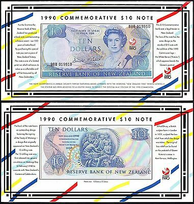 1990 New Zealand Commemorative $10 Dollars Banknote * Bbb * Unc * P-176 *