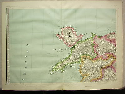 1868 Hand Coloured Map ~ Anglesey Carnarvon Merioneth