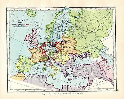 Victorian Map ~ Europe 1730 ~ Boundary Of Empire