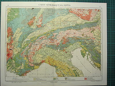 1921 Map ~ Geological Alps Physical Volcanic Palaeozoic Jurassic