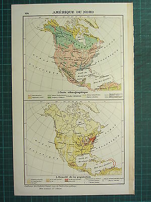1921 Map ~ North America Ethnographic ~ Population Density Mexico United States