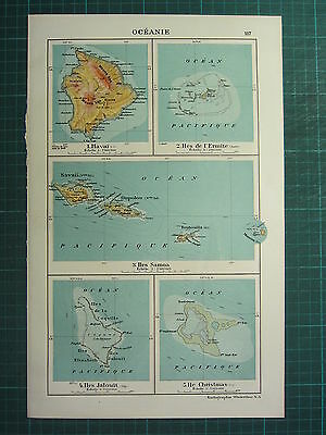 1921 Map ~ Oceania ~ Samoa Islands Hawaii Christmas Hermit Island