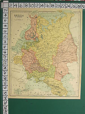 c1880 ANTIQUE MAP ~ RUSSIA IN EUROPE ~ POLAND VLADIMIR FINLAND CRIMEA