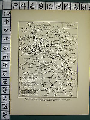 1915 Wwi Ww1 Map ~ Turkey's Disastrous Advance Caucasus Invasion Of Persia