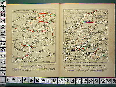 1915 Wwi Ww1 Map ~ First & Second Phase Great Retreat British Postions Paris