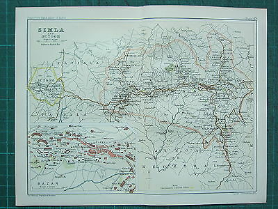 1893 India Empire Map ~ Simla & Jutogh ~ Bazar Elysium Hill