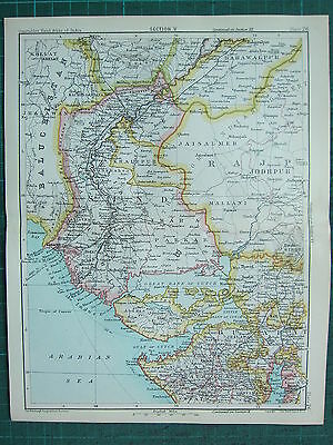 1893 India Empire Map ~ India Section V ~ Sind & Rajputana