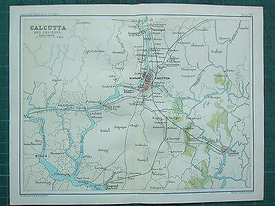1893 India Empire Map ~ Calcutta Environs ~ Howrah Port Canning