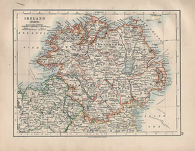 1914 Map ~ Ireland North ~ Donegal Tyrone Down Londonderry