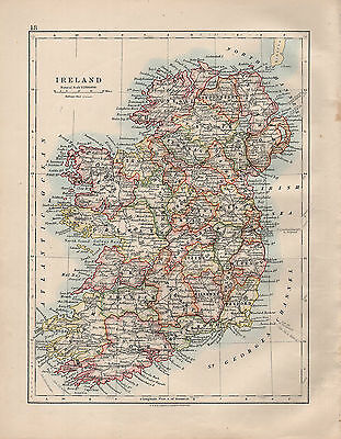 1914 Map ~ Ireland ~ Limerick Kerry Cork Galway Tyrone Down Donegal Londonderry