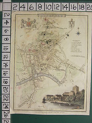 1806 Dated Georgian Map ~ Hereford ~ Cathedral ~ Churches Asylum Infirmary