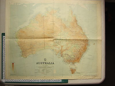 c1880 VICTORIAN MAP ~ AUSTRALIA PHYSICAL LAND HEIGHTS ~ NEW SOUTH WALES VICTORIA
