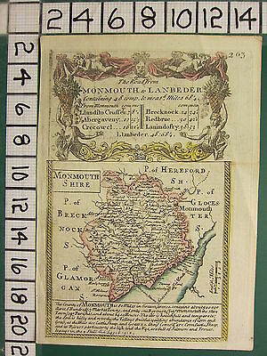 c1780 GEORGIAN MAP ~ ROAD FROM MONMOUTH TO LANBEDER ~ MONMOUTHSHIRE
