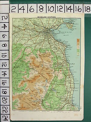 1902 Ireland Tourist Irish Map ~ Wicklow Section ~ Dublin Environs Bay Howth