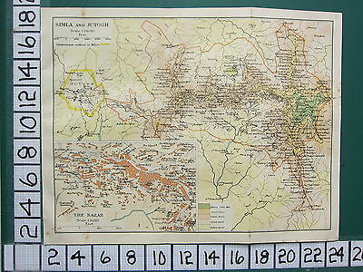 1938 India Indian Tourist Map ~ Simla & Jutogh Cantonments ~ Bazar Plan