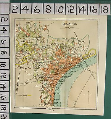 1938 India Indian Tourist Map ~ Benares ~ Belupur Post Office Station College