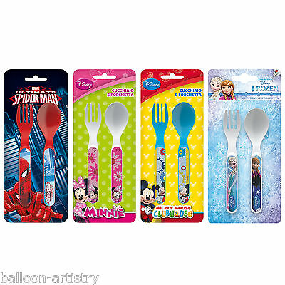 Children's Characters Cutlery Set (2 Piece) Fork + Spoon - Meal Pack-Lunch Kids