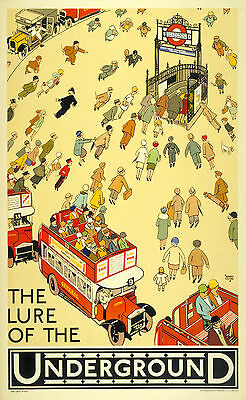 Home Wall Art Print - Vintage Travel Poster - LONDON UNDERGROUND 1 - A4,A3,A2,A1