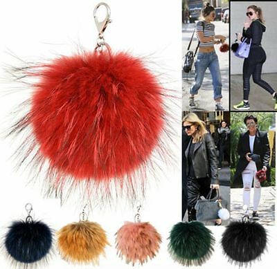Celebrity Inspired New Real Fur Pom Pom Key Ring Ladies Handbag Charm