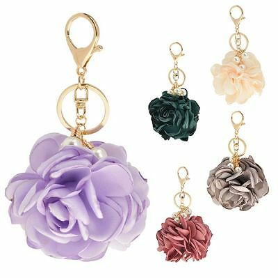Womens New Satin Flower Pearl Detail Gold Chain Keyring Keychain Bag Charm